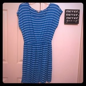 Casual Teal Striped Dress